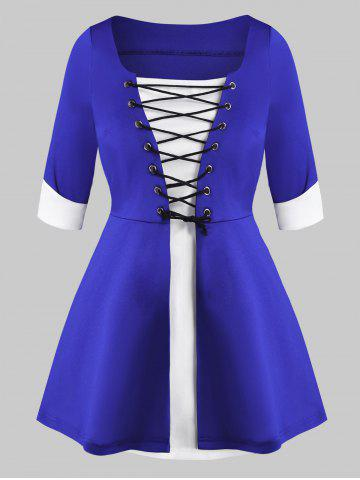 Contrast Lace Up Cuffed Sleeve Plus Size Top - BLUE - 1X