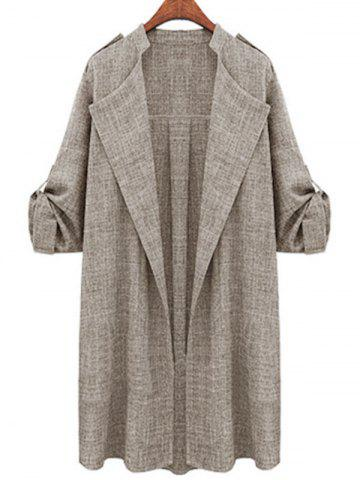 Plus Size Open Front Roll Up Sleeve Coat - LIGHT GRAY - 4XL