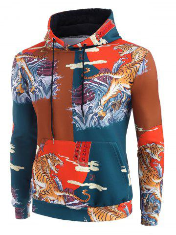 Sea Waves Tiger Graphic Print China Style Hoodie - RED - 3XL