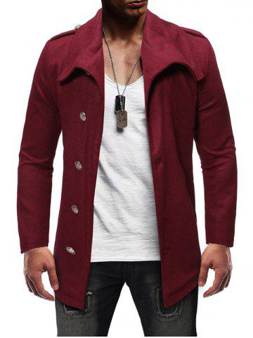 Single Breasted Zipper Detail Wool Blend Coat - RED WINE - M