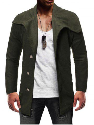 Single Breasted Zipper Detail Wool Blend Coat - ARMY GREEN - L