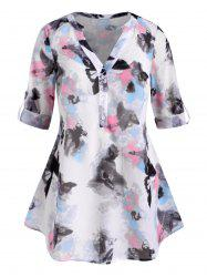 Button Front Abstract Butterfly Print Plus Size Top -