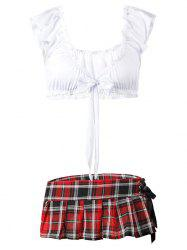 Plus Size Plaid Lace-up Schoolgirl Lingerie Costume -