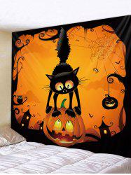 Halloween Cat Pumpkin Pattern Wall Tapestry -