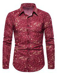 Tiny Flower Paisley Print Button Up Casual Shirt -
