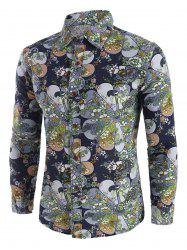 Ditsy Floral Pattern Long Sleeve Casual Shirt -