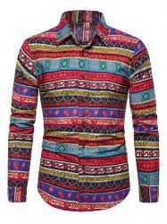 Ethnic Seamless Pattern Button Up Shirt -