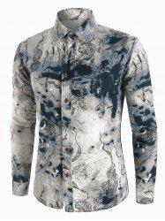 Abstract Landscape Paint Pattern Vintage Long Sleeve Shirt -