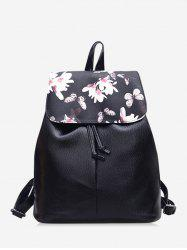 Floral Butterfly Print Drawstring Leather Backpack -