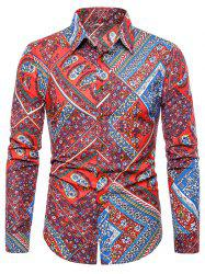 Floral Paisley Print Turn-down Collar Casual Shirt -