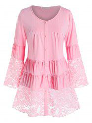 Plus Size Lace Panel Tiered Ruched Flare Sleeve Blouse -