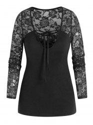 Long Sleeve Flower Lace Insert Lace-up T-shirt -