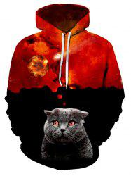 Volcano Cat Pattern Casual Front Pocket Hoodie -