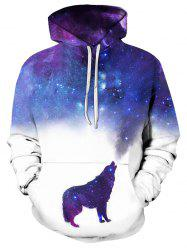 Casual Wolf Starry Pattern Front Pocket Hoodie -