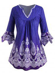 V-notched Flare Sleeve Paisley Printed Plus Size Blouse -