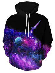 Spaceship Starry Pattern Drawstring Front Pocket Hoodie -