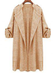 Plus Size Open Front Roll Up Sleeve Coat -