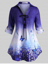 Tab Sleeve Lace Up Floral Butterfly Plus Size Top -
