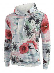Palm Tree Flower Print Front Pocket Hoodie -