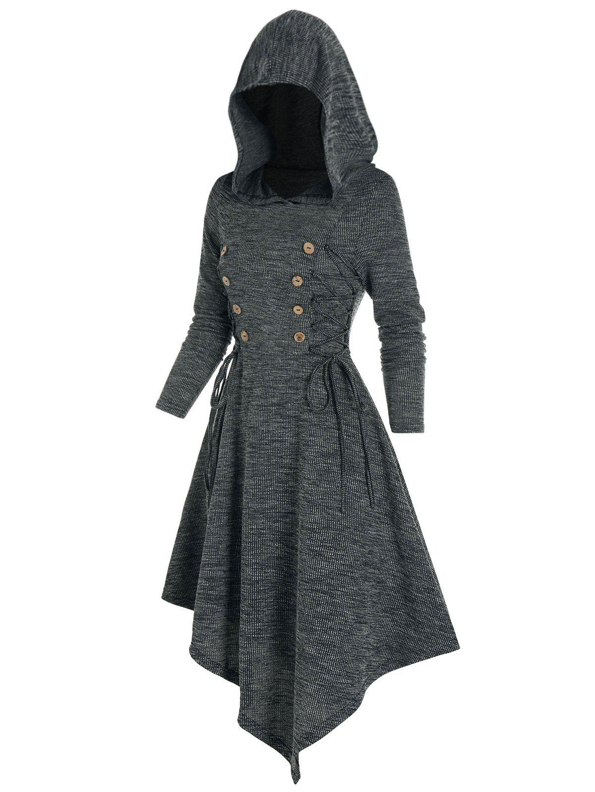 New Lace Up Mock Button Hooded Asymmetrical Dress