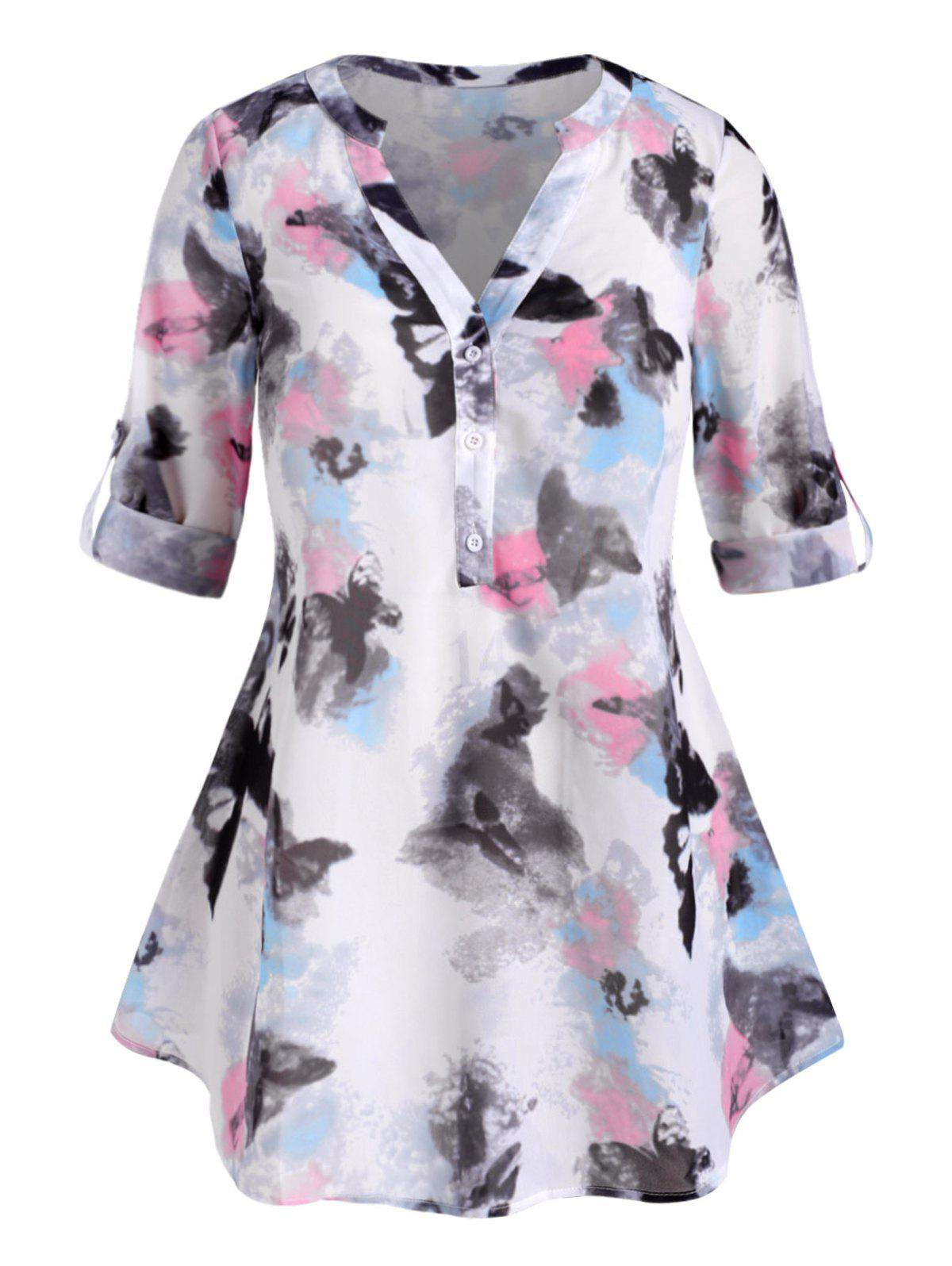 New Button Front Abstract Butterfly Print Plus Size Top