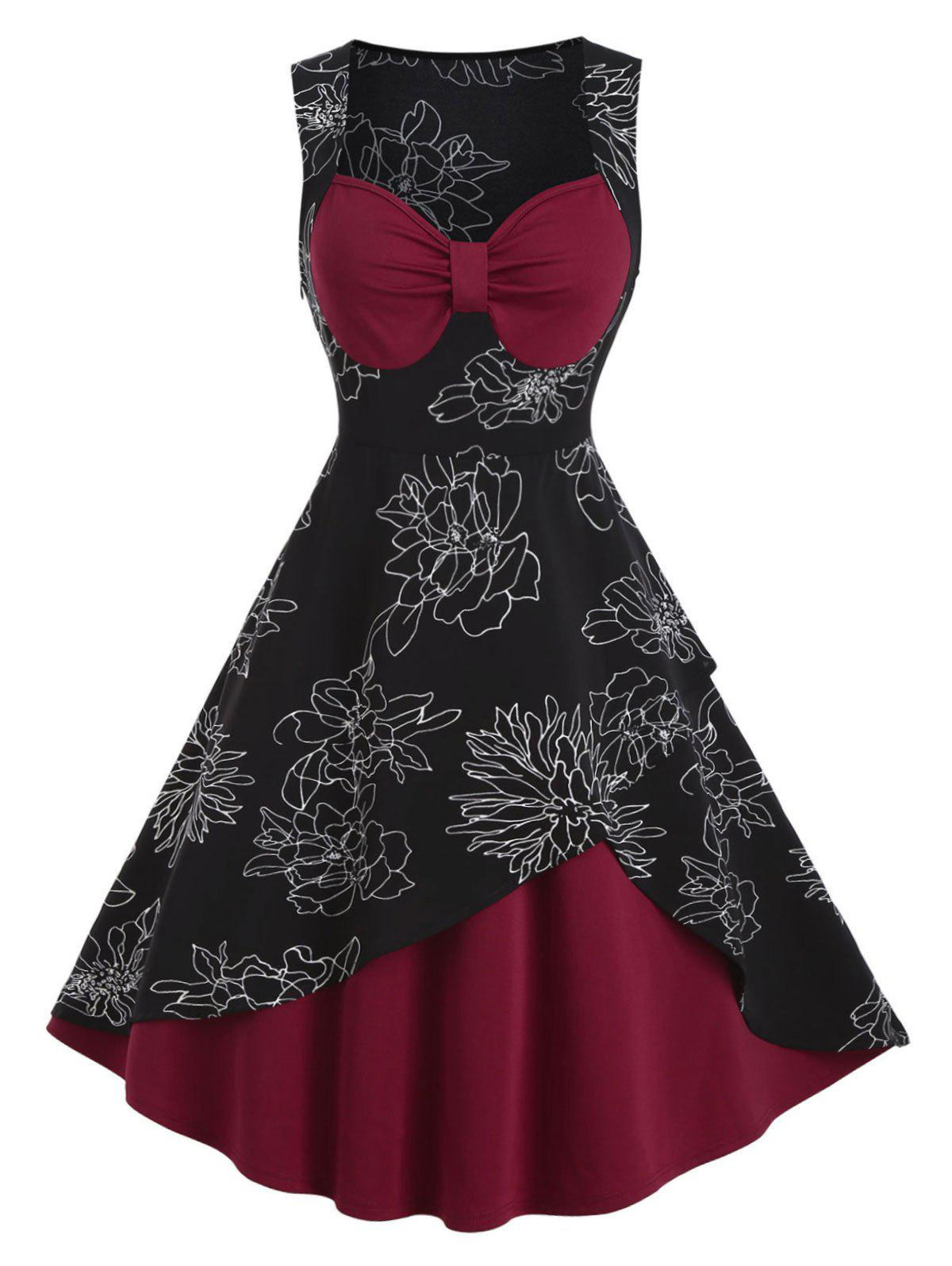 Outfit Flower Print Sweetheart Neck Vintage Sleeveless Dress