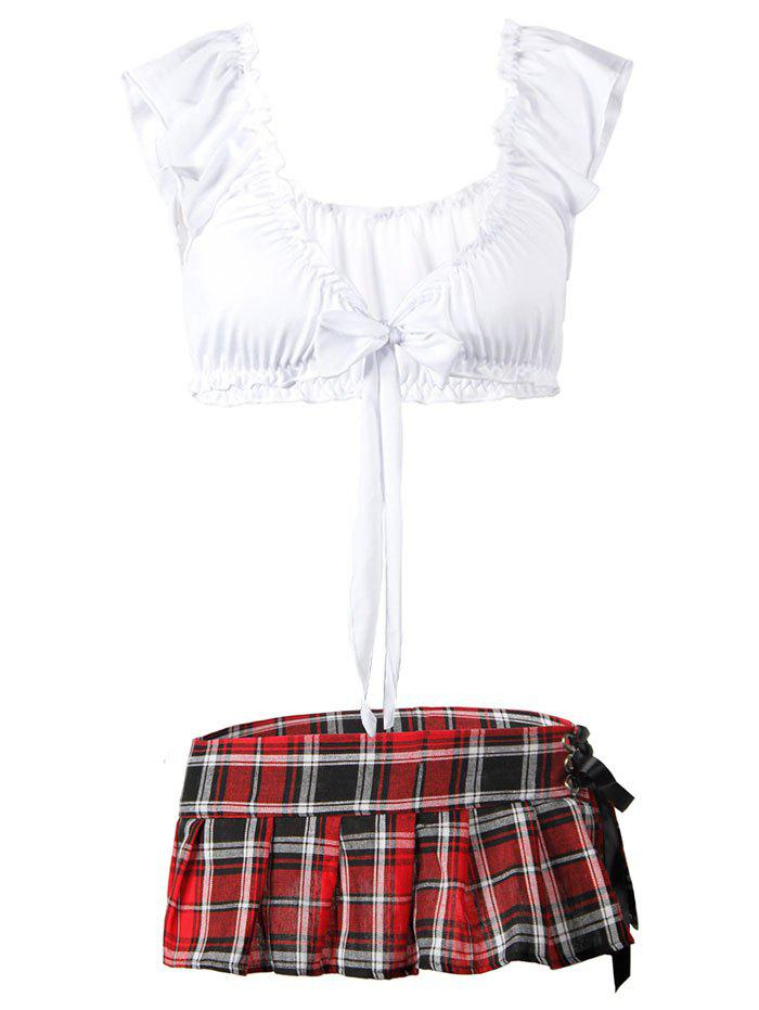 Latest Plus Size Plaid Lace-up Schoolgirl Lingerie Costume