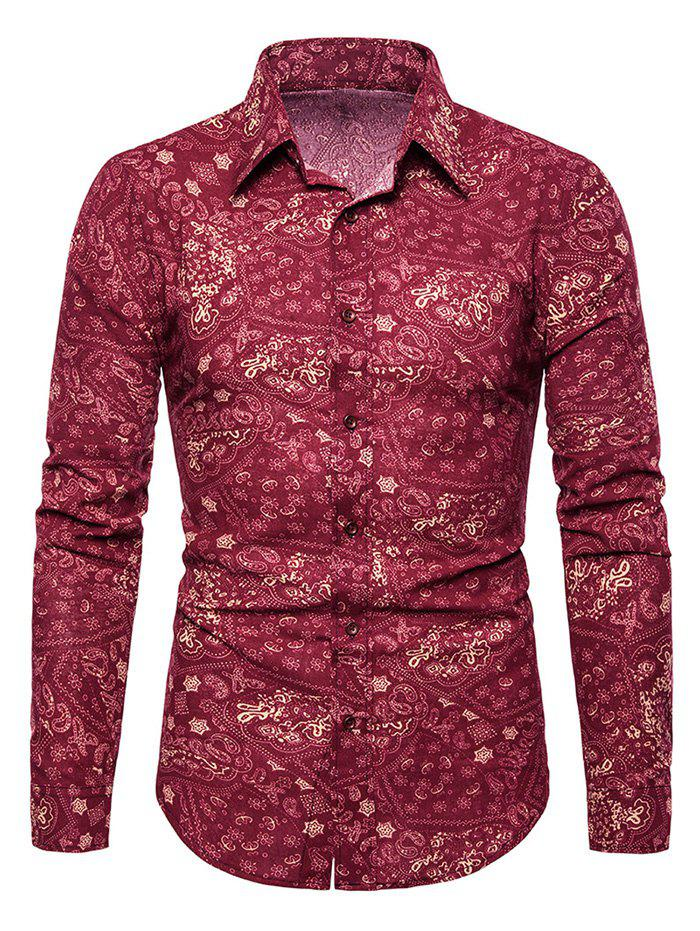 Shops Tiny Flower Paisley Print Button Up Casual Shirt