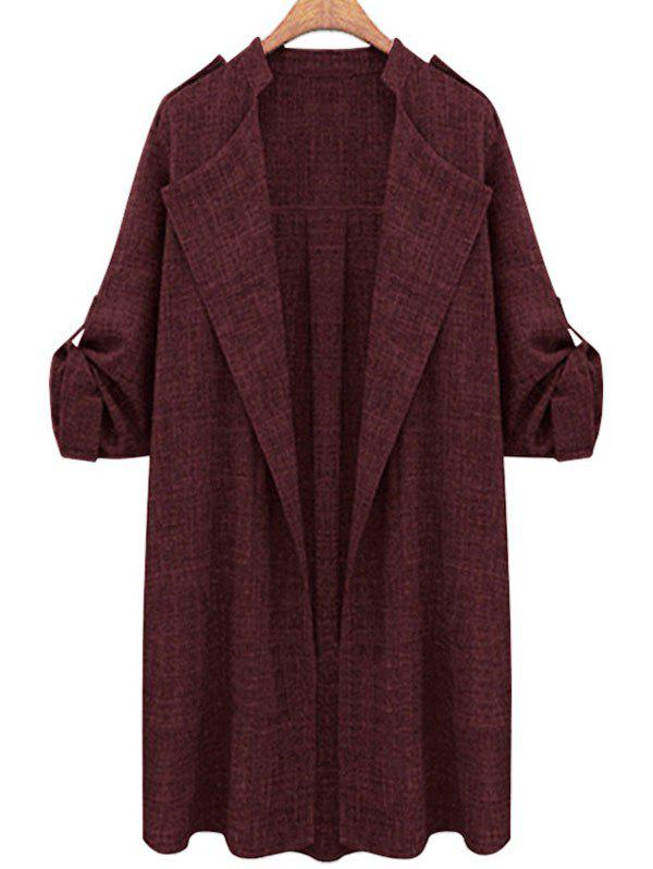 Sale Plus Size Open Front Roll Up Sleeve Coat