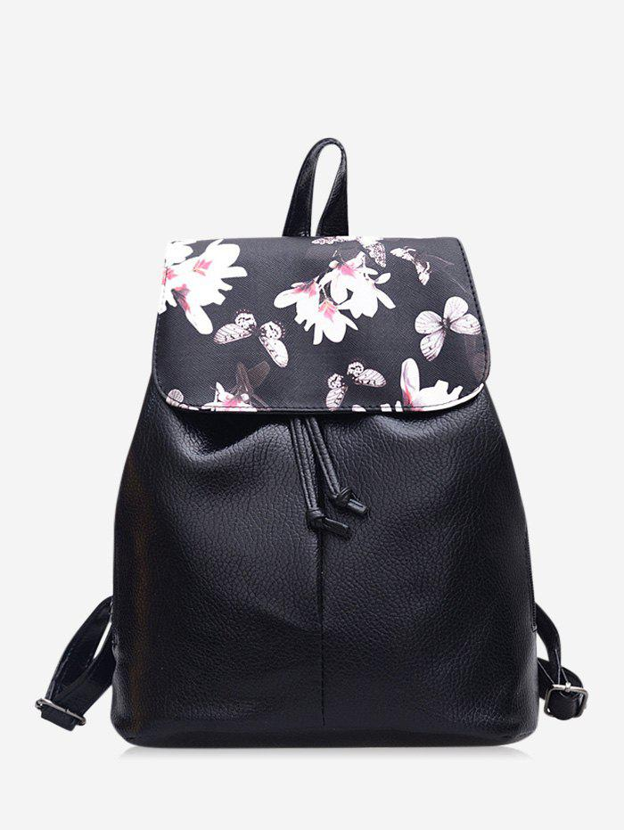 Latest Floral Butterfly Print Drawstring Leather Backpack