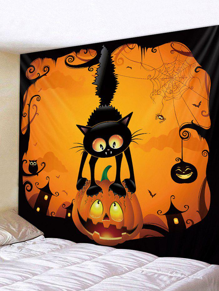 Unique Halloween Cat Pumpkin Pattern Wall Tapestry