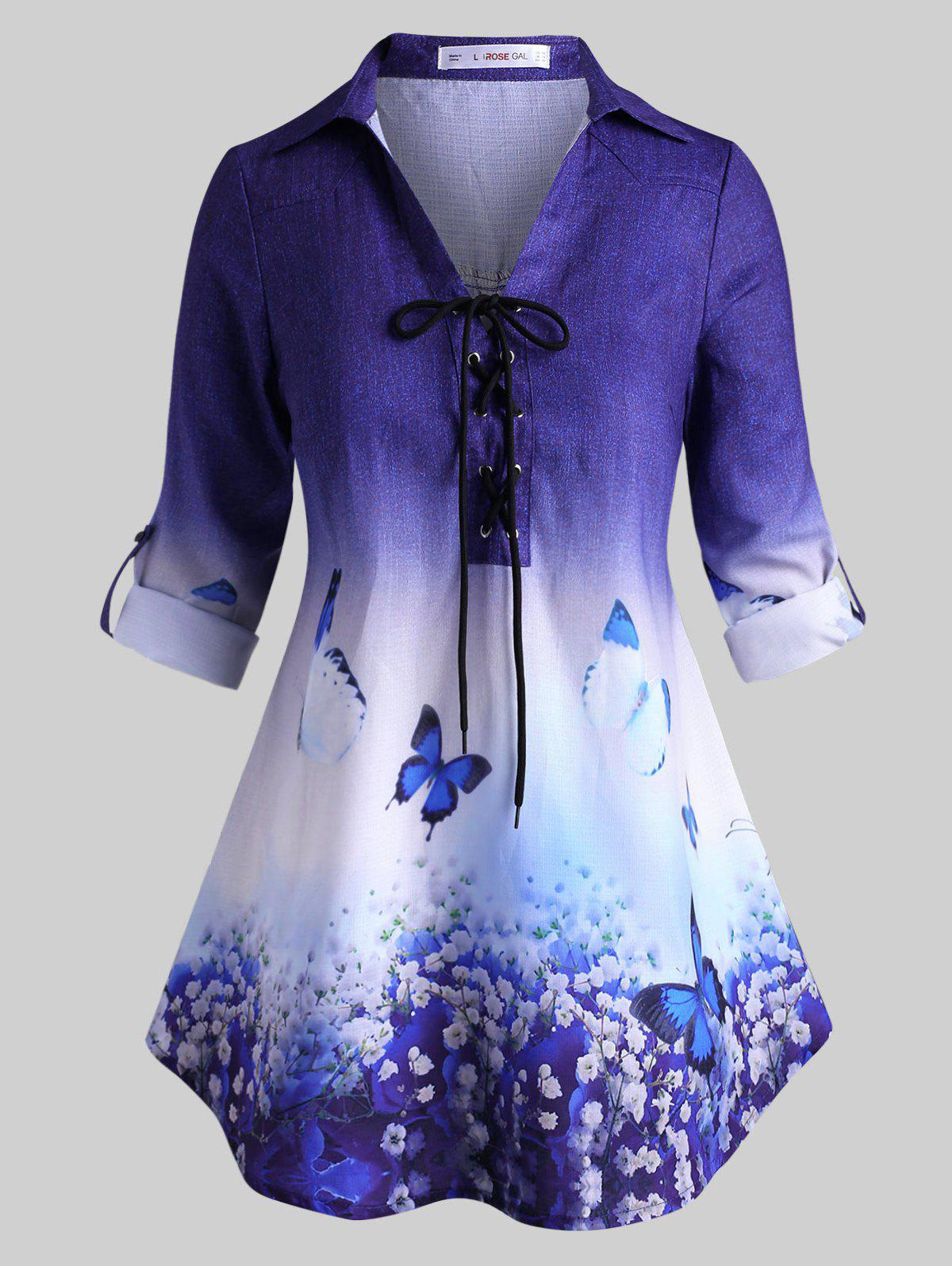 Fashion Tab Sleeve Lace Up Floral Butterfly Plus Size Top