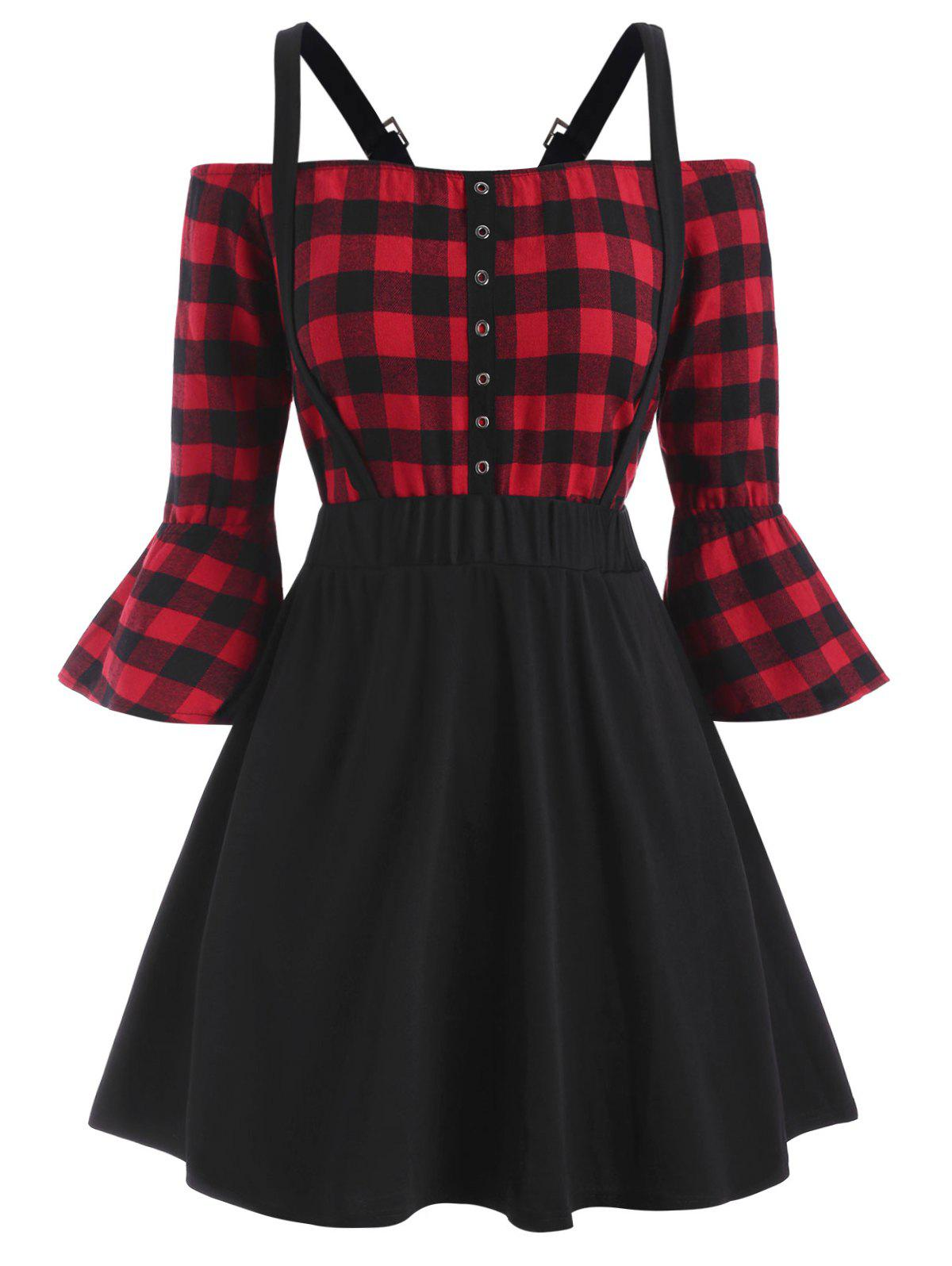 Outfits Plus Size Plaid Off Shoulder Top And Suspender Skirt Set