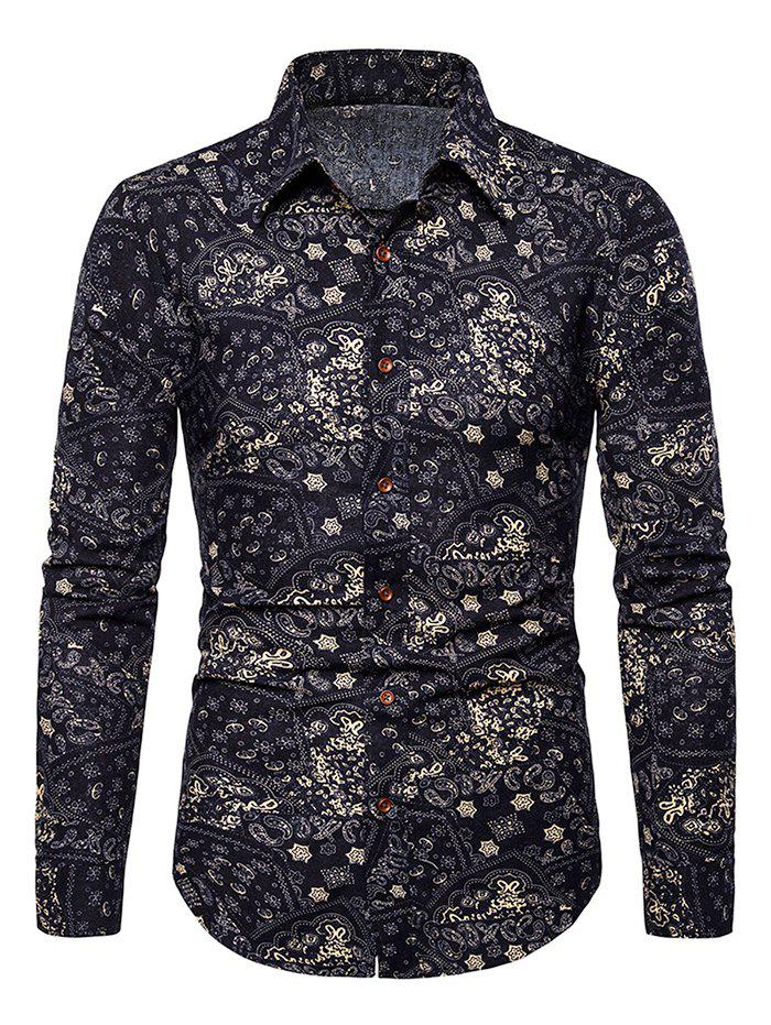 Fashion Tiny Flower Paisley Print Button Up Casual Shirt