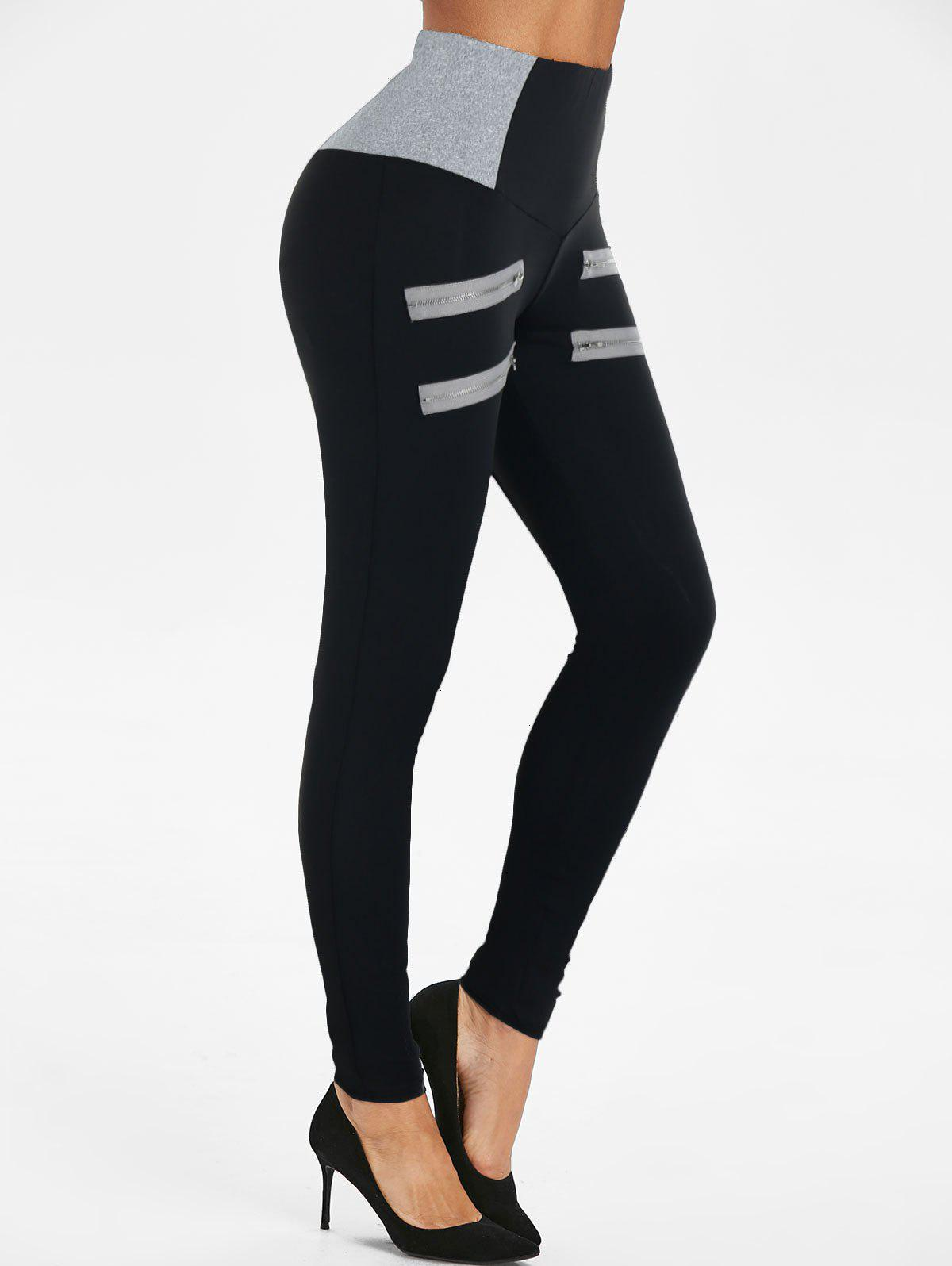 Sale Zip Accent High Waist Heathered Leggings