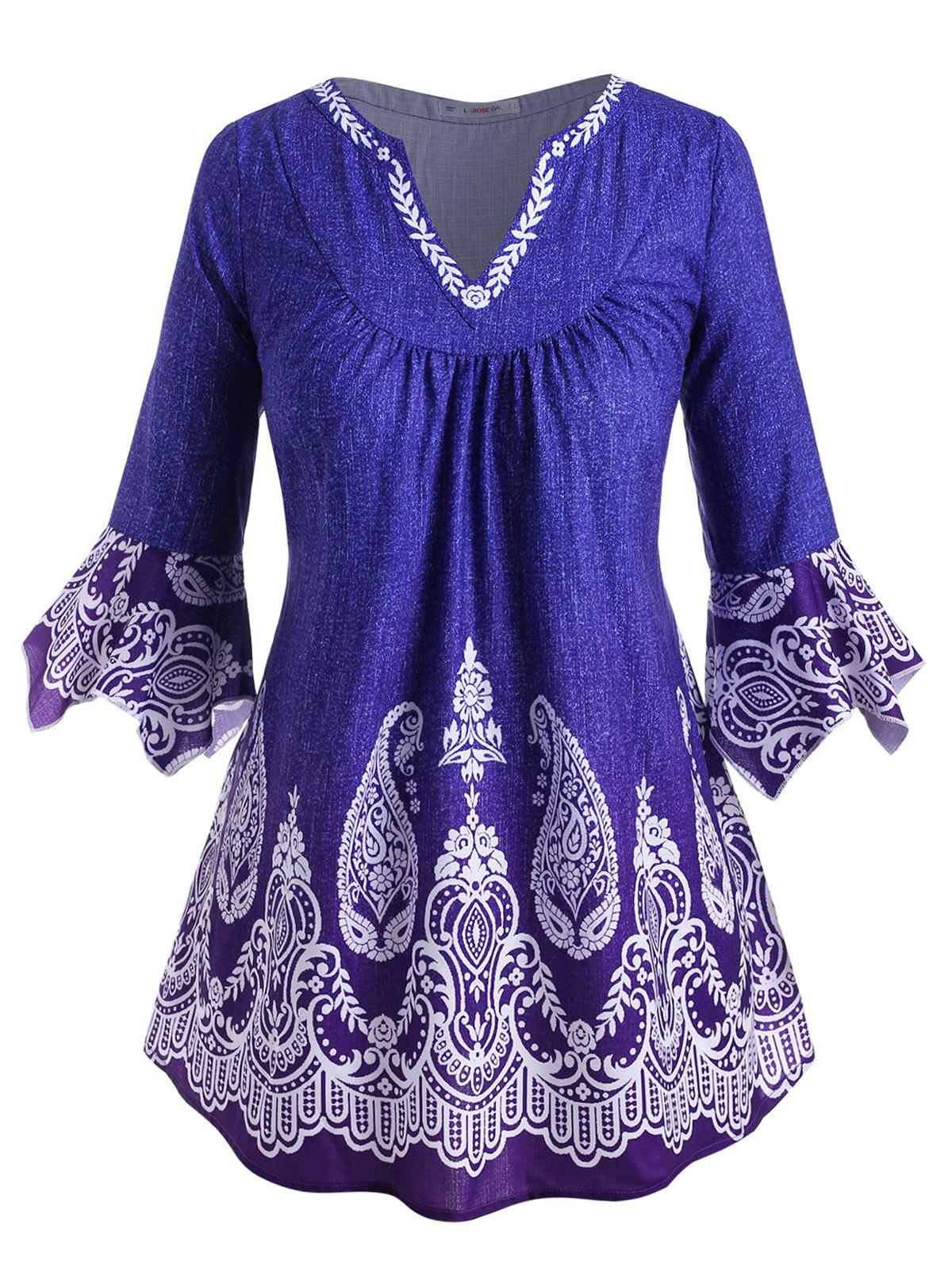 New V-notched Flare Sleeve Paisley Printed Plus Size Blouse