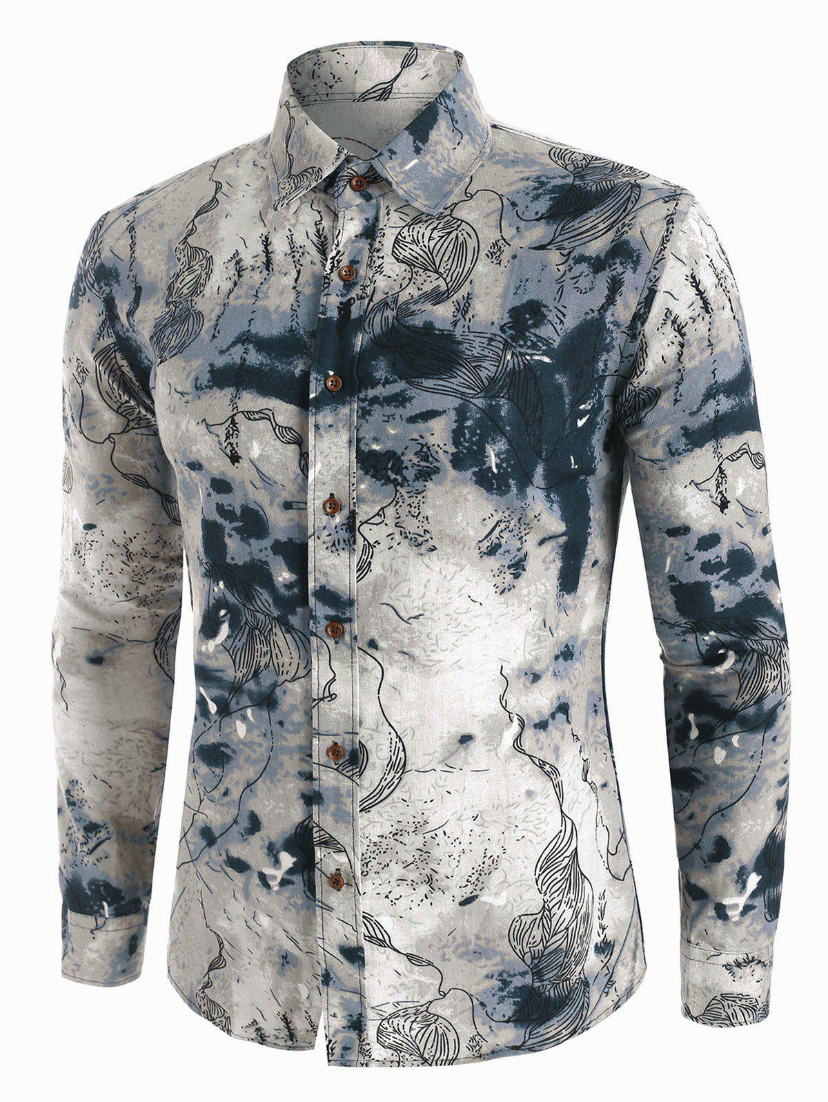 Chic Abstract Landscape Paint Pattern Vintage Long Sleeve Shirt