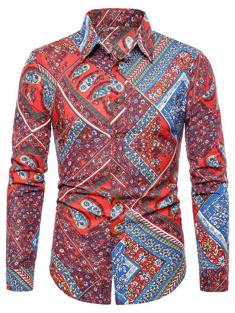 Chic Floral Paisley Print Turn-down Collar Casual Shirt