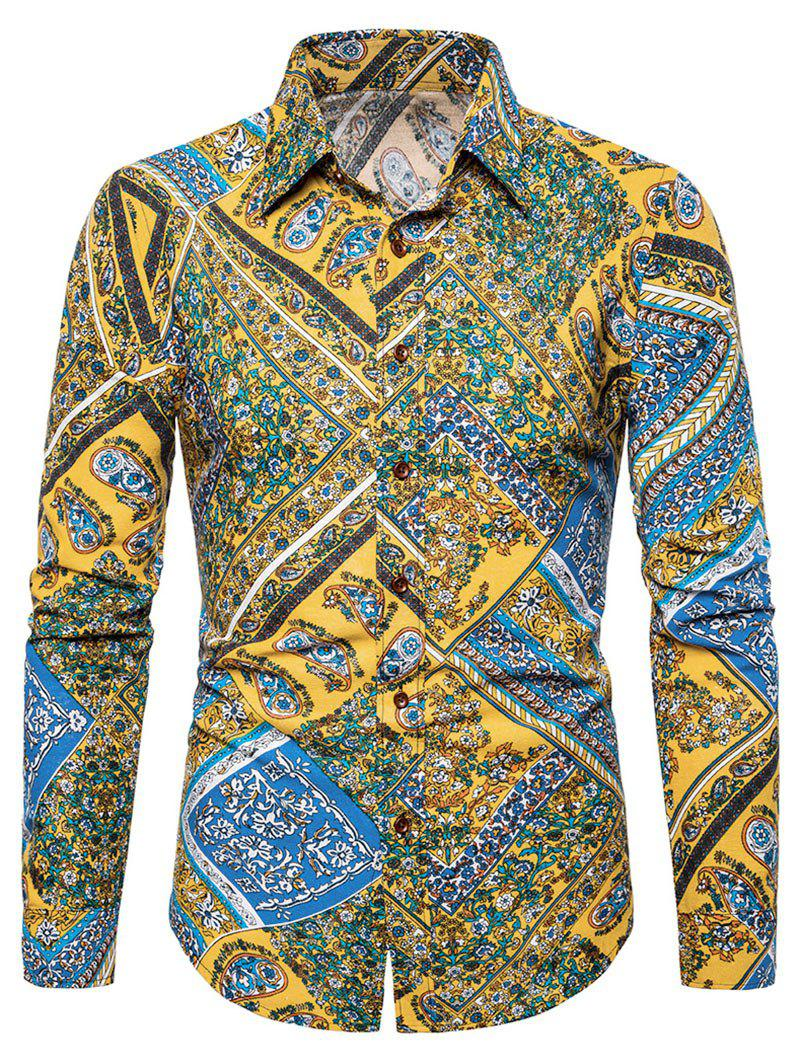 Store Floral Paisley Print Turn-down Collar Casual Shirt