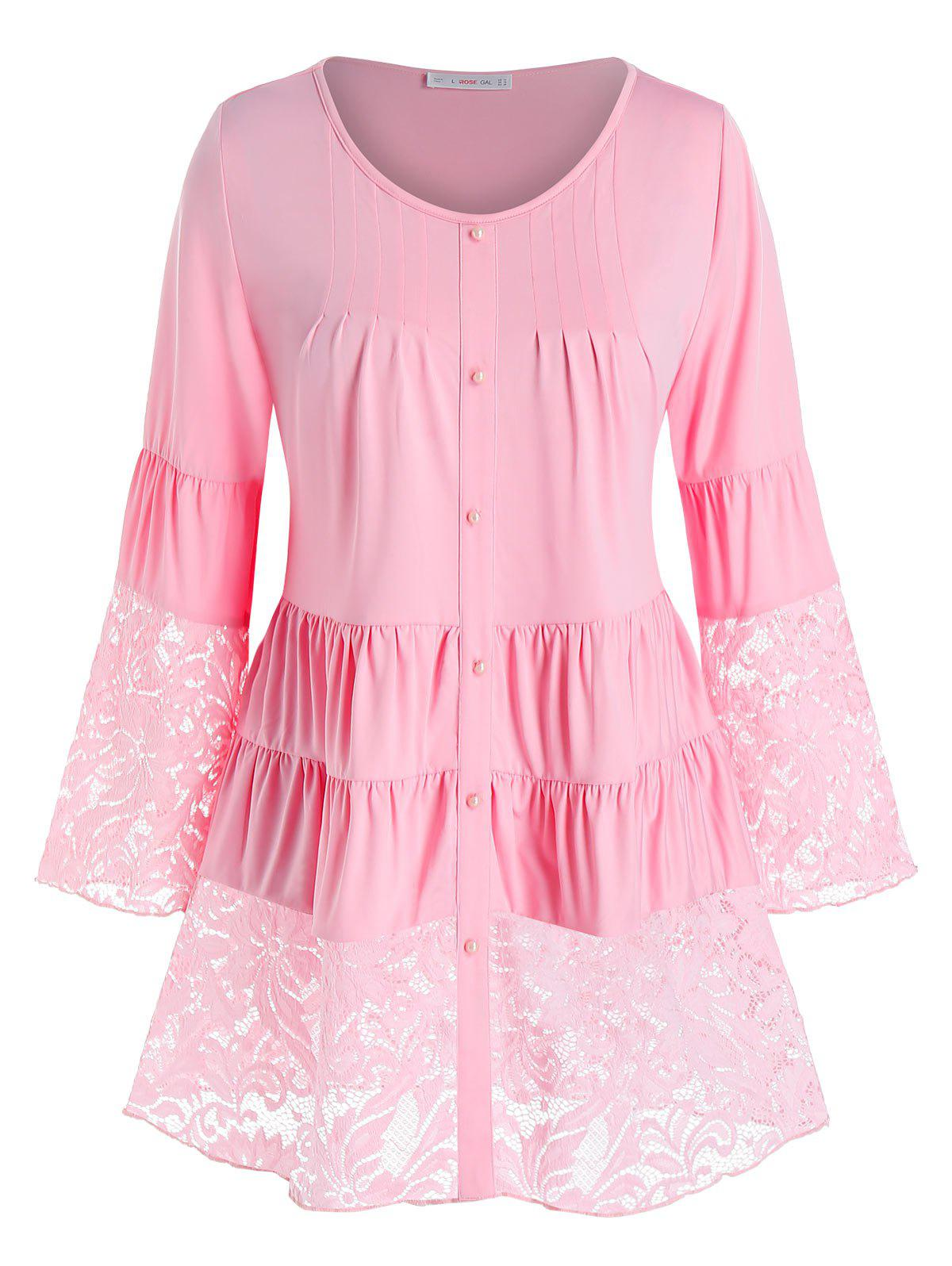 Trendy Plus Size Lace Panel Tiered Ruched Flare Sleeve Blouse