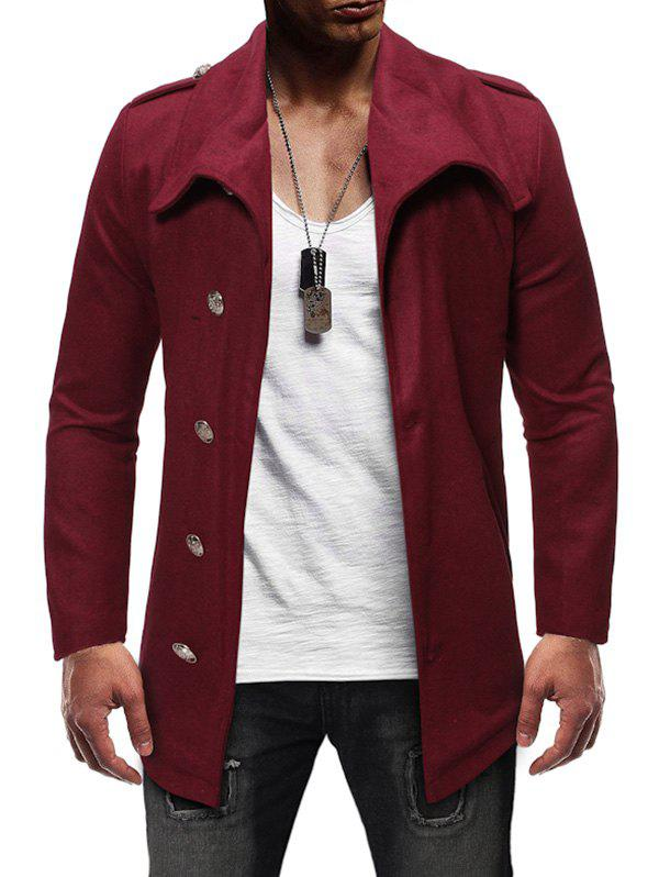Best Single Breasted Zipper Detail Wool Blend Coat
