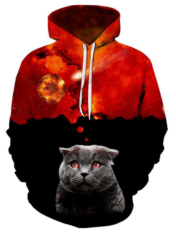 Shop Volcano Cat Pattern Casual Front Pocket Hoodie