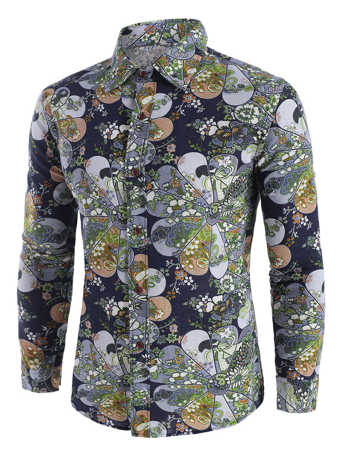 Fancy Ditsy Floral Pattern Long Sleeve Casual Shirt