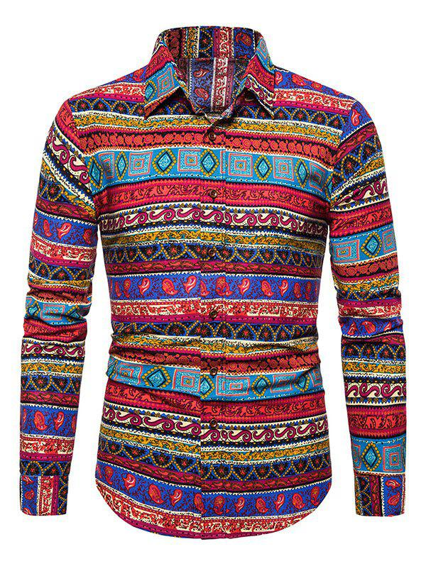 Chic Ethnic Seamless Pattern Button Up Shirt