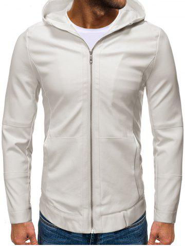 Hooded Zip Up Faux Leather Jacket - WHITE - 2XL