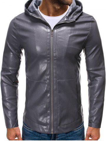 Hooded Zip Up Faux Leather Jacket - CARBON GRAY - 2XL