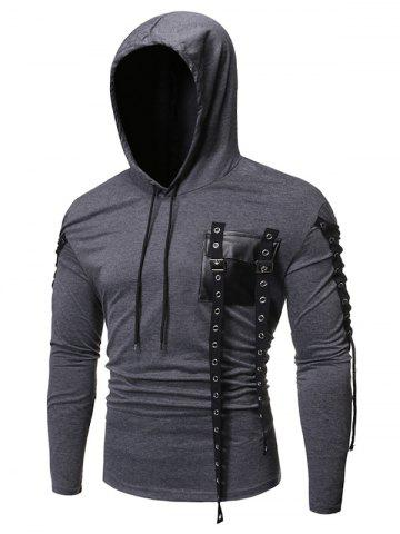 Lace-up Buckle Strap Pocket Hoodie - CARBON GRAY - 2XL