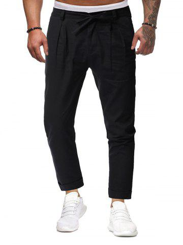 Drawstring Cuffed Hem Casual Pants