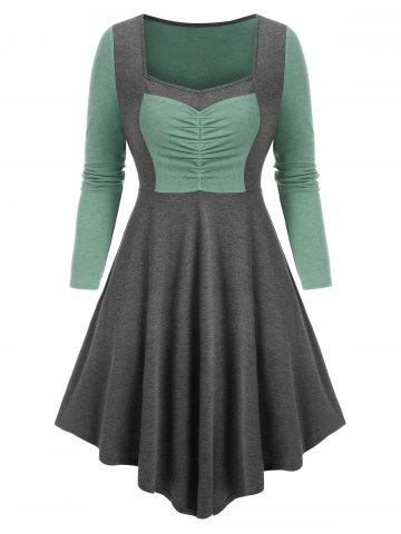 Contrast Color Ruched Asymmetric Long Sleeve Dress
