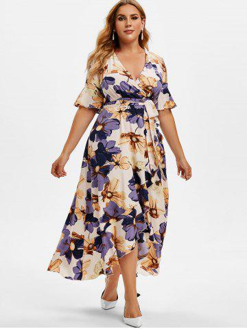 Plus Size Ruffle Floral Print High Low Maxi Dress